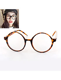 Elegant Tortie Pure Color Design Round Frame Simple Glasses