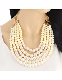 Fashion Beige Pearls Decorated Multi-layer Short Chain Necklace