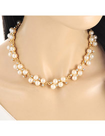 Fashion Gold Color Pears&diamond Decorated Short Chain Necklace