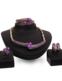 Fashion Purple Pears Decorated Hollow Out Design Jewelry Sets