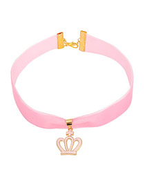 Lovely Pink Metal Crown Decorated Simple Wide Choker