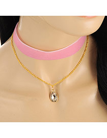 Sweet Pink Oval Shape Diamond Decorated Simple Choker