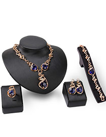 Fashion Gold Color+blue Round Gemstone Decorated Irregualr Curve Chain Jewelry Sets