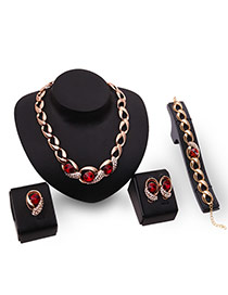 Exaggerated Gold Color+red Round Shape Diamond Decorated Hollow Out Jewelry Sets