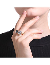 Fashion Gold Color Square Shape Diamond Decorated Geometric Shape Ring