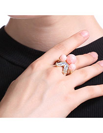 Fashion Gold Color+pink Three Pearls Decorated Irregular Shape Ring