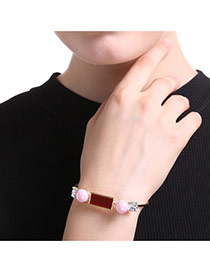 Personalized Gold Color+pink Square Shape Diamond&pearl Decorated Simple Bracelet