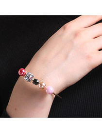 Personalized Multi-color Pearls&diamond Decorated Simple Bracelets