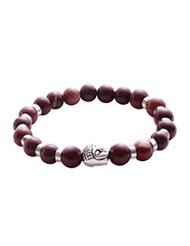 Vintage Dark Red Joss Pattern Decorated Simple Buddha Beads Bracelet