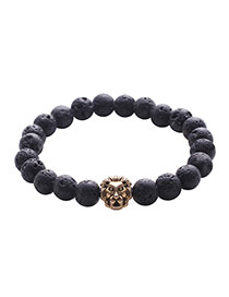 Vintage Black Lion Pattern Decorated Pure Color Buddha Beads Bracelet
