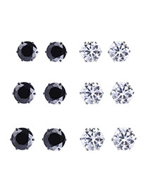 Elegant Black Diamonds Decorated Geometric Shape Jewelry Sets