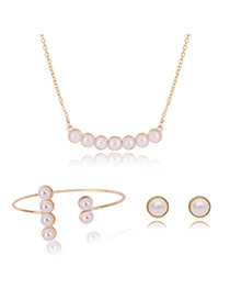 Fashion Gold Color Pearls Decorated Simple Jewelry Sets (3pcs)