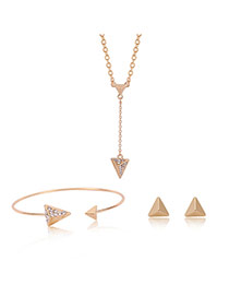 Elegant Gold Color Diamond Decorated Triangle Shape Simple Jewelry Sets (3pcs)