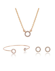 Fashion Gold Color Hollow Out Round Shape Decorated Simple Jewelry Sets (3pcs)