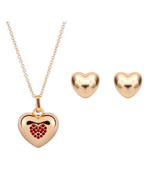Fashion Gold Color Diamond Decorated Heart Shape Jewelry Sets (2pcs)
