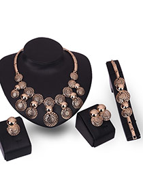 Fashion Gold Color Hollow Out Design Pure Color Jewelry Sets (4pcs)