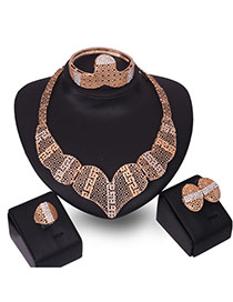 Fashion Gold Color Hollow Out Design Irregular Shape Simple Jewelry Sets (4pcs)