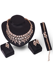 Fashion Gold Color Pearl&diamomd Decorated Hollow Out Design Jewelry Sets (4pcs)