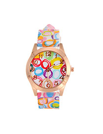Fashion Multi-color Printing Flower Pattern Decorated Simple Watch