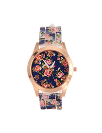 Fashion Navy Printing Flower Pattern Decorated Simple Watch