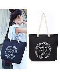 Lovely Black Feather&letter Pattern Decorated Simple Canvas Bag