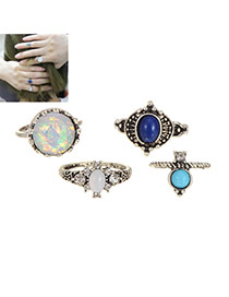 Fashion Silver Color Round Shape Diamond Decorated Irregular Shape Ring (4pcs)