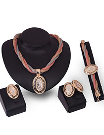 Fashion Gold Color Diamond Decorated Hollow Out Oval Shape Jewelry Sets (4pcs)