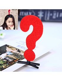 Fashion Red Question Mark Decorated Color Matching Simple Hair Clip