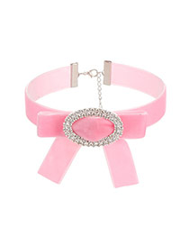 Fashion Pink Oval Shape Decorated Bowknot Shape Necklace