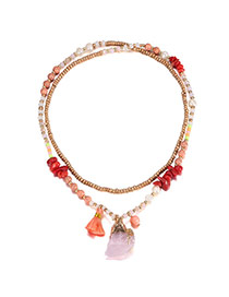 Bohemia Multi-color Tassel Decorated Simple Double Layer Necklace