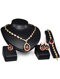 Elegant Gold Color+red Oval Shape Diamond Decorated Simple Jewelry Sets