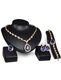 Elegant Gold Color+blue Oval Shape Diamond Decorated Simple Jewelry Sets