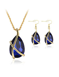 Delicate Blue Oval Diamond Pendant Decorated Simple Jewelry Sets