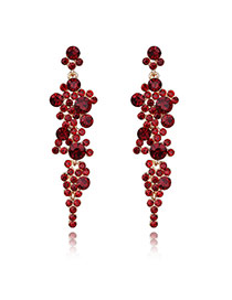 Vintage Red Round Shape Decorated Simle Tassel Earrings