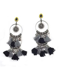 Bohemia Gray Round Shape Decorated Tassel Simple Earrings