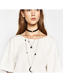 Fashion Black+gold Color Moon&star Shape Pendant Decorated Mulyilayer Necklace