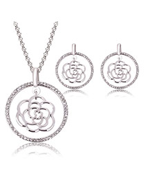 Elegant Silver Color Hollow Out Rose Flower Shape Pendant Decorated Simple Jewelry Sets