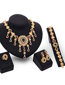 Luxury Multi-color Flower& Waterdrop Pendant Decorated Simple Jewelry Sets