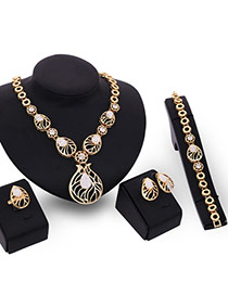 Fashion Gold Color Diamond&oval Shape Decorated Simple Hollow Out Jewelry Sets