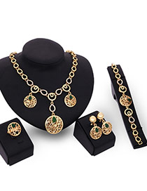 Trendy Gold Color Diamond& Round Shape Pendant Decorated Hollow Out Jewelry Sets