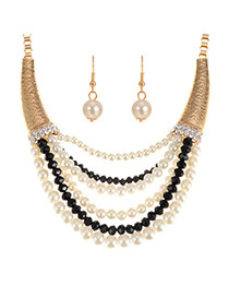 Elegant Black Pearl Pendant Decorated Multilayer Short Chain Jewelry Sets