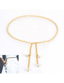 Lovely White Pearl Pendant Decorated Simple Waist Chain