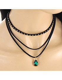 Elegant Green Waterdrop Shape Pendant Decorated Multilayer Necklace