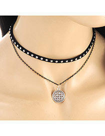 Elegant Black Hollow Out Round Pendant Decorated Doublelayer Necklace