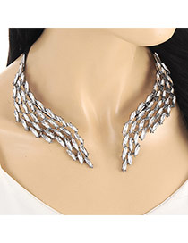 Personality ' Silver Color Oval Shape Diamond Decorated Opening Simple Necklace