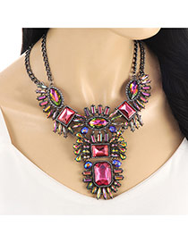 Exaggerate Red Geometric Shape Diamond Decorated Double Chain Necklace