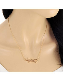 Lovely Gold Color Heart Shape Pendant Decorated Long Chian Necklace