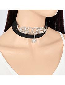 Trendy Black+silver Color Diamond& Flower Shape Decorated Double-layer Simple Design Choker