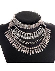 Exaggerate Silver Color Bullet Shape Pendant Decorated Multilayer Necklace