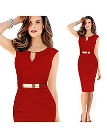 Elegant Red O Neckline Decorated Sleevess Pure Color Dress